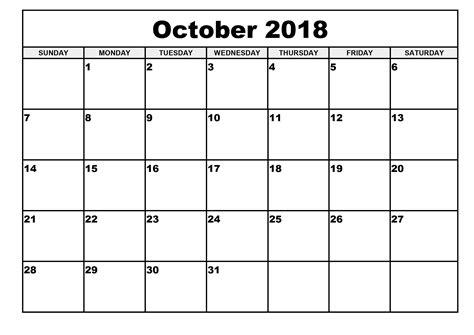 printable calendar october 2018 printable calendar 2018 templates print calendar template