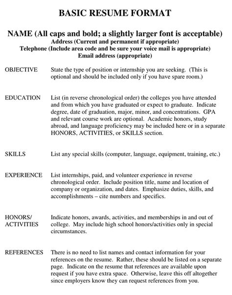 Resume Activities Section Exle Basic Resume Template Free Premium Templates Forms Sles For Jpeg Png Pdf