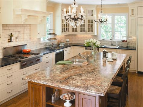 kitchen island with granite countertop choosing kitchen countertops hgtv
