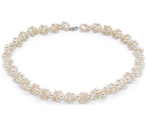 pearl jewelry freshwater cultured pearl cluster necklace with 14k white