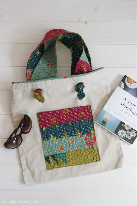tutorial tote bag with pockets add a kantha stitch pocket tote bag upgrade radiant