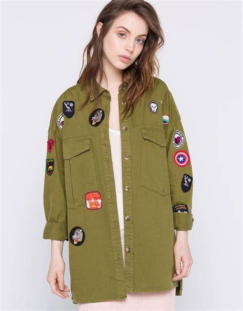 Bershka Jacket Army overshirt with patches jackets bomber jackets