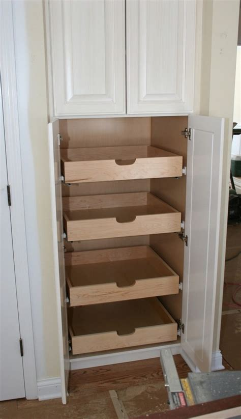 Kitchen Pantry Cabinet With Drawers How To Build Pull Out Pantry Shelves Diy Projects For