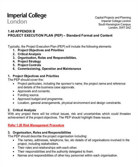 project execution plan template 32 sle plan templates in word