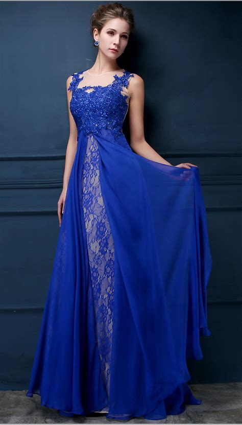 what is popular in 2017 royal blue lace chiffon popular 2017 prom dresses