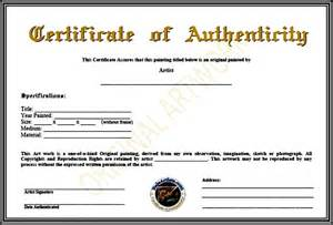 authenticity certificate template certificate of authenticity template pdf sle templates