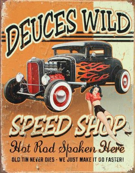 werkstatt poster deuces speed shop rod tin sign at allposters