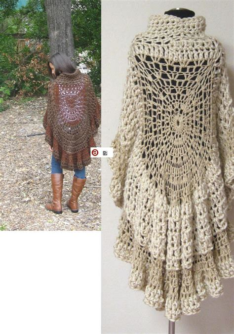 hippie knitting patterns brown capelet poncho crochet fashion original by