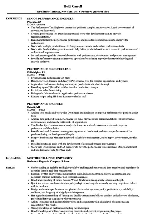 Performance Engineer Resume Sles Velvet Jobs Performance Resume Template