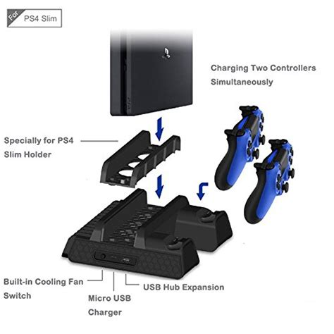 Jual Ps4 Slim Usb Hub Dual Fan Cooling Cooler Charging Dock Vertical S 1 ps4 ps4 slim ps4 pro cooling fan anrain cooling cooler