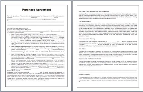 agreement contract template word purchase contract template microsoft word templates