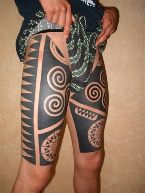 maori thigh blackwork tattoo best tattoo ideas gallery