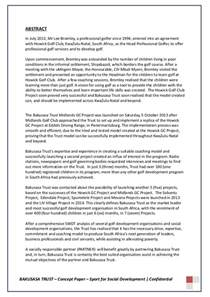 Social Development Essay by Concept Paper Sport For Social Development Project A Strategic Pa