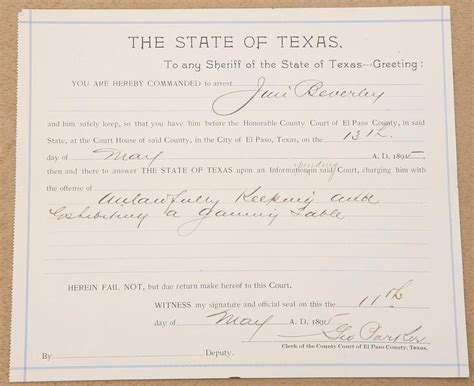 El Paso County Warrants Search Original State Of Arrest Warrant From El Paso County Dated May 13 1895 For
