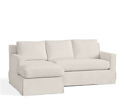 York Square Arm Slipcovered Sofa With Chaise Sectional Slipcovered Sofa With Chaise