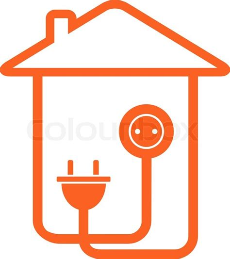 house wiring electrical symbols yellow isolated electrical symbol with house silhouette stock vector colourbox