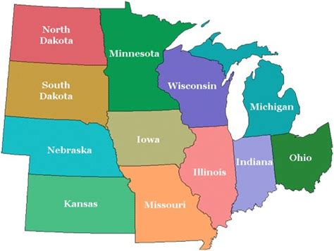 midwest us states map quiz karmelek16 the midwest region