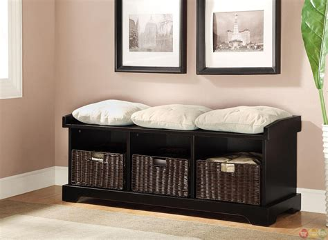 black storage bench with cushion black wood bench w wicker storage baskets linen seating