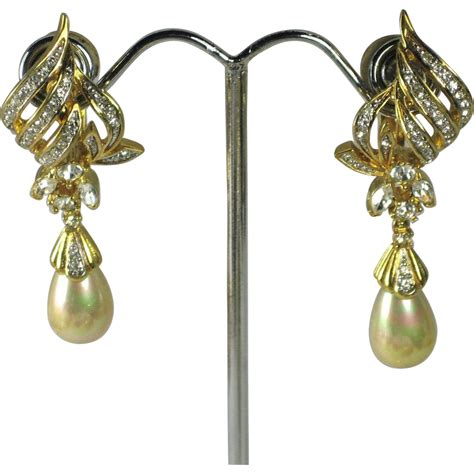 rhinestone earrings vintage d orlan faux pearl rhinestone dangle teardrop
