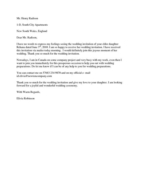 Withdrawal Letter Bidding Wedding Acceptance Letter Formal Wedding Acceptance