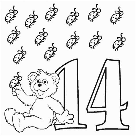 Number 14 Coloring Page number sesame 14 babybear coloring pages