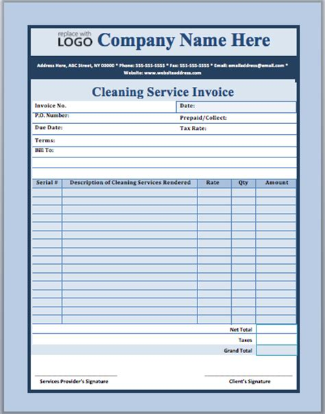 cleaning company template invoice template for janitorial services
