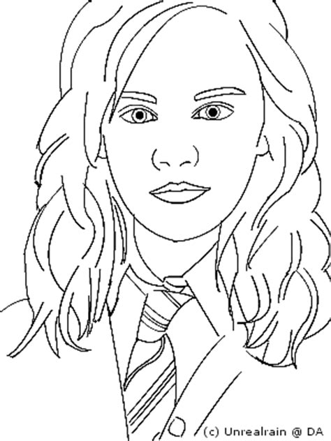 Hermione Granger Coloring Pages by How To Draw Harry Potter Hermione Granger Sketch Coloring Page