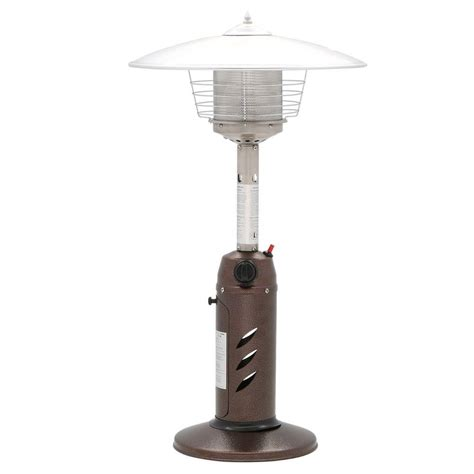 Lp Patio Heater Gardensun 11 000 Btu Powder Coated Bronze Tabletop Propane Patio Heater Hps C Pc The Home Depot