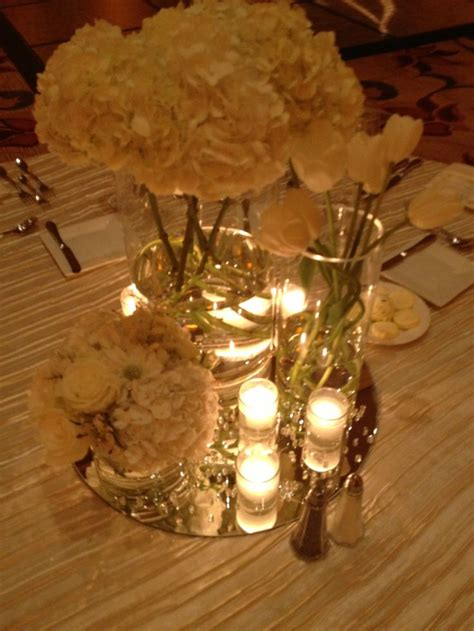 Modern Romantic Centerpieces All White Centered On Mirrors Glass Mirrors For Centerpieces
