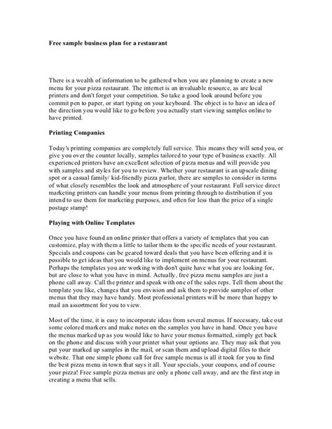 business plan template for a restaurant free sle business plan for a restaurant