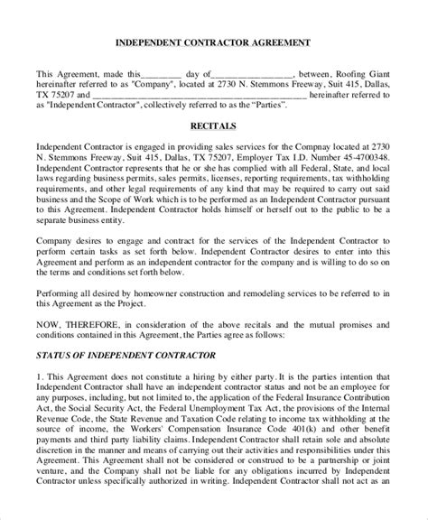 Agreement Letter For Contractor Sle Independent Contractor Agreement 8 Exles In Word Pdf