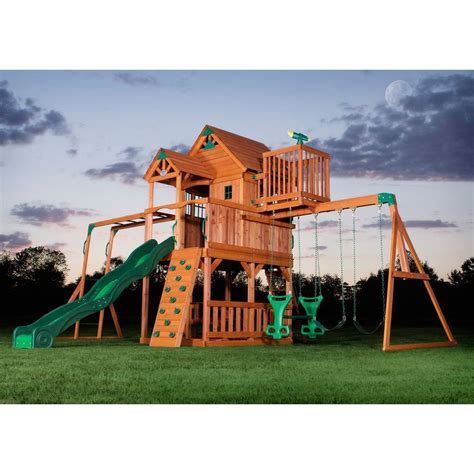 backyard swing set new big 9 kid cedar wood fort playground slide monkey bars