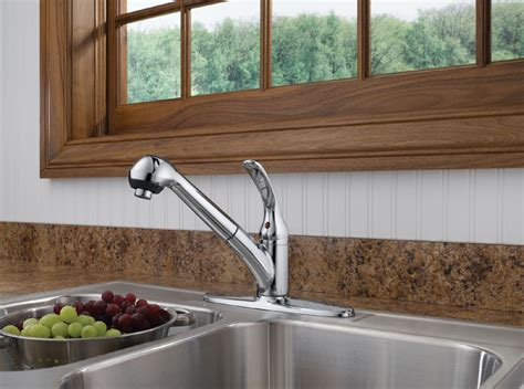 delta faucet b4310lf core b single handle kitchen pull out delta b4310lf foundations core b single handle pull out