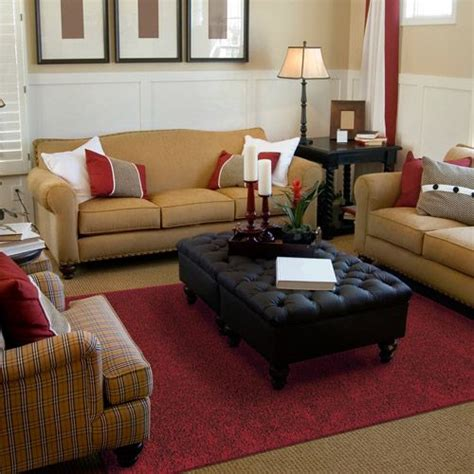 what colour carpet goes with red sofa mohawk home solid shag area rug in red with tan couches