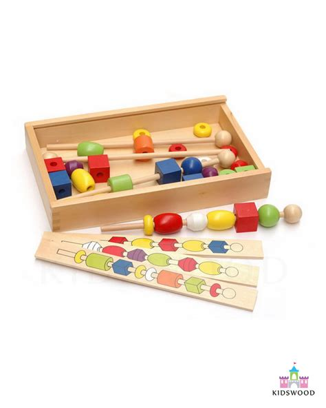 wooden bead box box