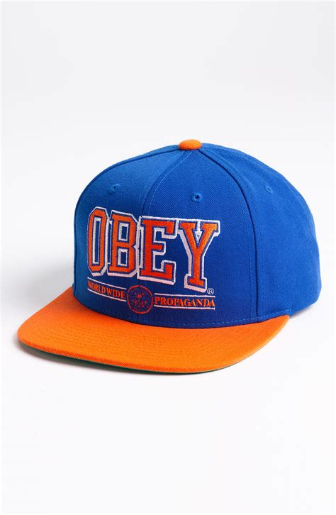 obey athletics baseball cap in blue for royal blue