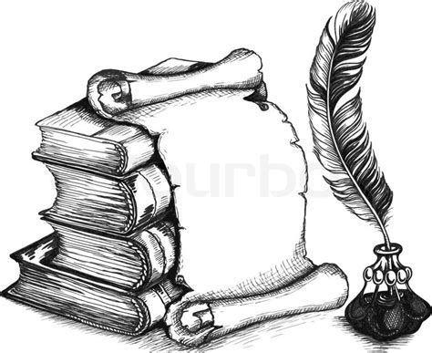 quill sketchbook paper scroll feather and books in a sketch style