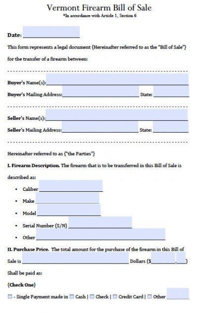 vermont dmv boat bill of sale free vermont firearm bill of sale form pdf word doc