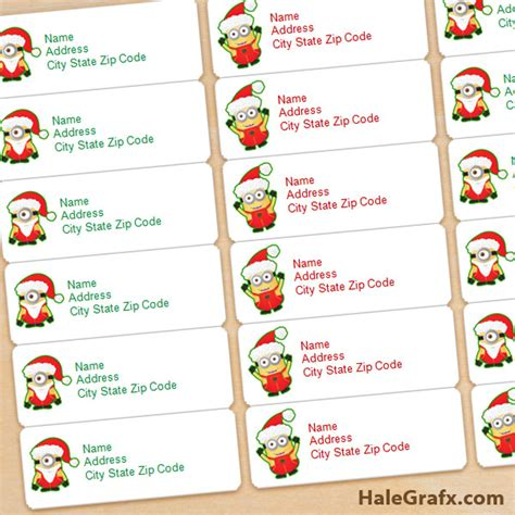printable free address labels free printable christmas minions address labels