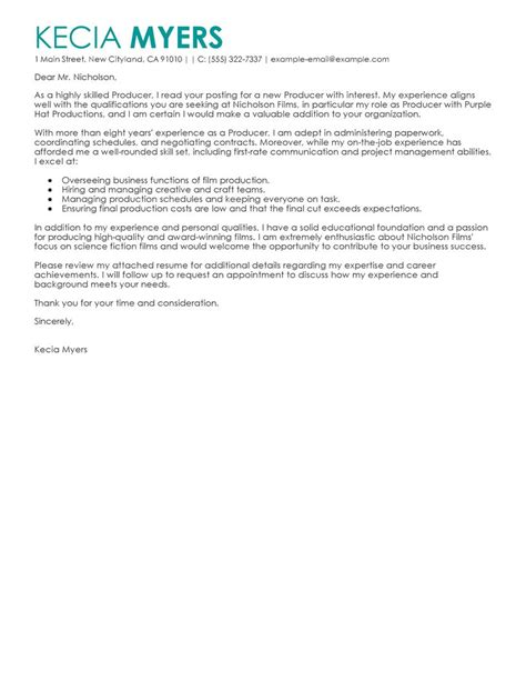 Cover Letter For In Media Best Media Entertainment Cover Letter Exles Livecareer