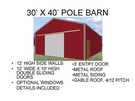 House Blueprints Free 3040pb1 30 x 40 x 12 pole barn plans blueprints