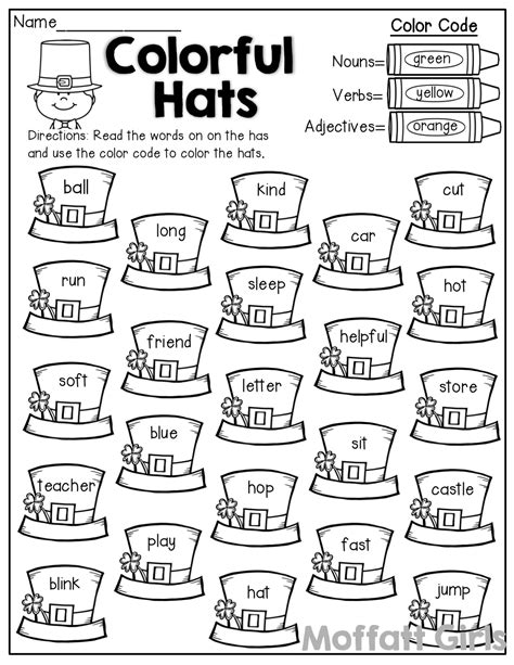 are colors adjectives colorful hats color by the code nouns verbs and
