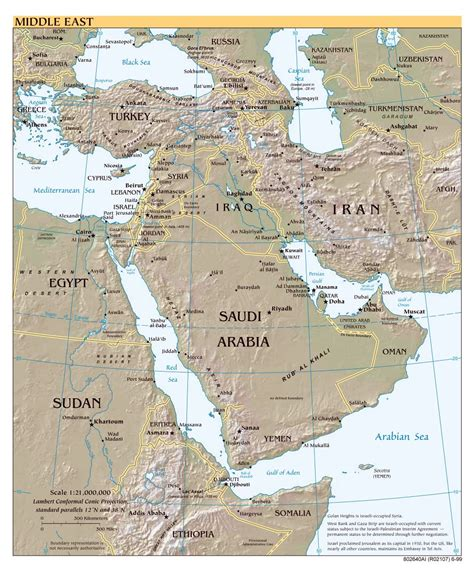 middle east map major cities large scale political map of the middle east with relief