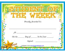 Student Of The Week Certificate Template Free by Student Of The Week Award Certificates A Template Of