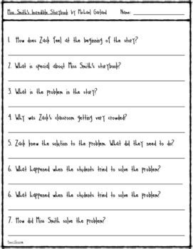 Miss Smith's Incredible Storybook: Comprehension Questions