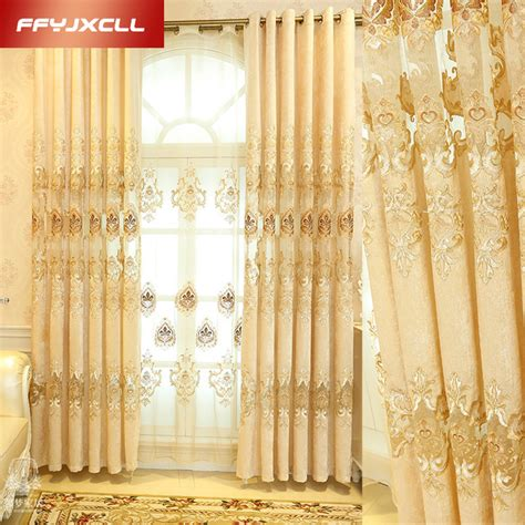 golden yellow curtains new luxury europe embroidered tulle window curtains for
