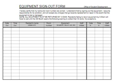 Equipment Sign Out Sheet Template by Equipment Sign Out Sheet Free Word Templates