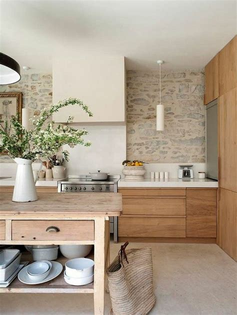 le mur en pierre apparente en   cuisine moderne