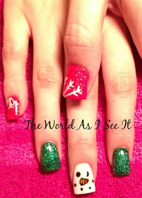 Christmas 2013 acrylic nail art nails pinterest