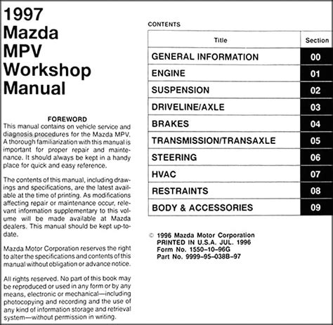 free download parts manuals 1992 mazda mpv electronic throttle control service manual online car repair manuals free 1997 mazda mpv electronic valve timing service